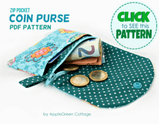 Coin purse sewing pattern with zipper by AppleGreen Cottage
