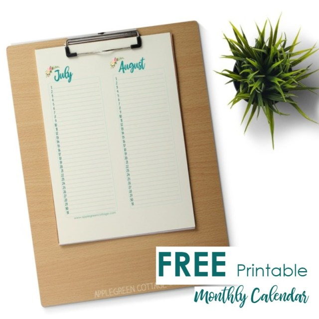 Monthly calendar - free printable template for all the birthdays and recurring events. Download for free, print and never again forget about a birthday.
