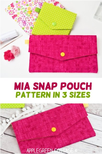 Sewing pattern for a snap pouch with a flap in 3 sizes – so practical! This beginner sewing project will help you make simple fabric pouch with snap fastening, perfect to carry around small items such as cosmetics, first aid supplies, feminine products, or simply a lip balm, pack of tissues and your keys. you can use it as your essential clutch for evening outings, travel cosmetic pouch, small storage pocket, sun glasses case, pencil pouch, earbud case,first aid kit, travel storage for jewelry, hair accessories storage. No limits! Fully lined, optional wristlet strap, 3 sizing options. Check out more about the pdf pattern here!