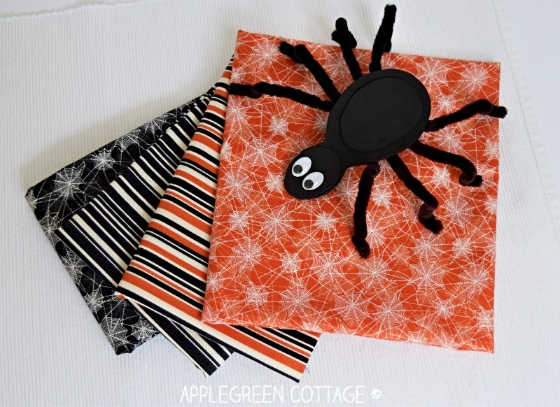 diy trick or treat bag fabric and spider craft