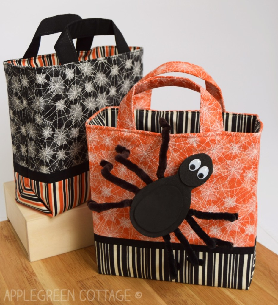 orange and black diy trick or treat bag with spider craft
