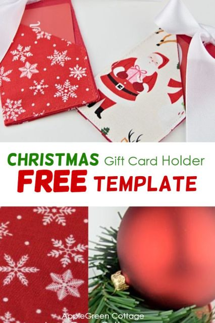 Christmas gift card holder- free sewing pattern