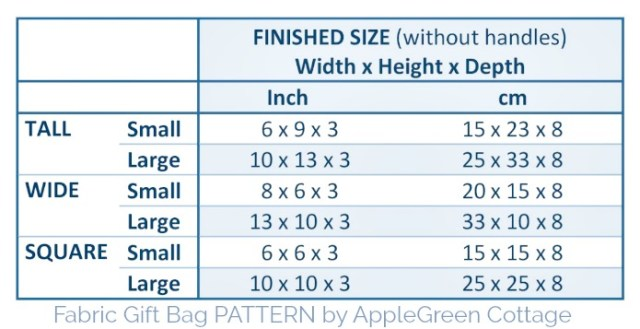 gift bag pattern sizes