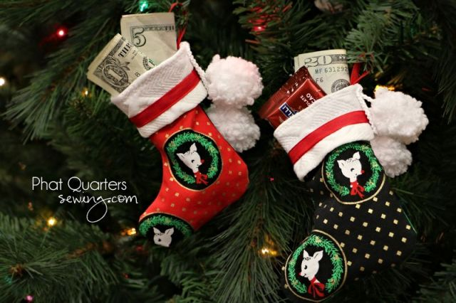 Christmas stocking patterns as gift card holders