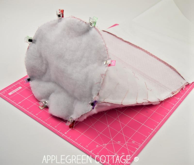 sewing santa bag bottom to the side part of santa sack