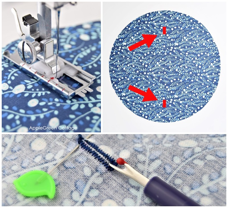 buttonhole sewing on blue fabric
