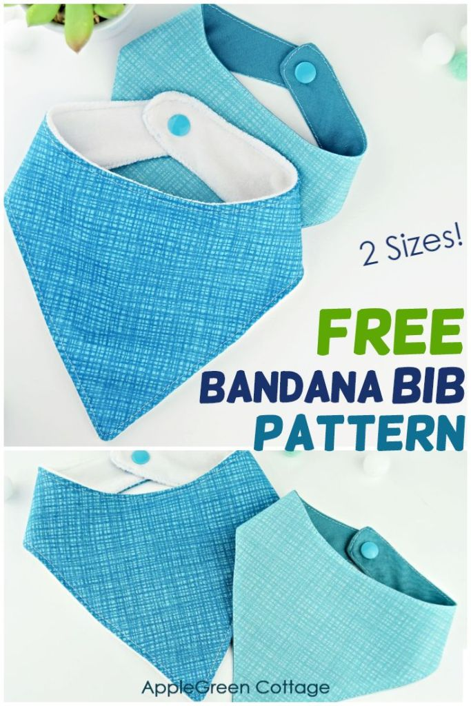 Free Baby Bib Pattern Pdf : pattern, Bandana, Pattern, Sizes!, AppleGreen, Cottage
