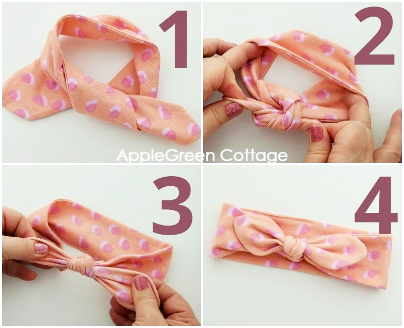 steps to tie a knot on diy baby headband