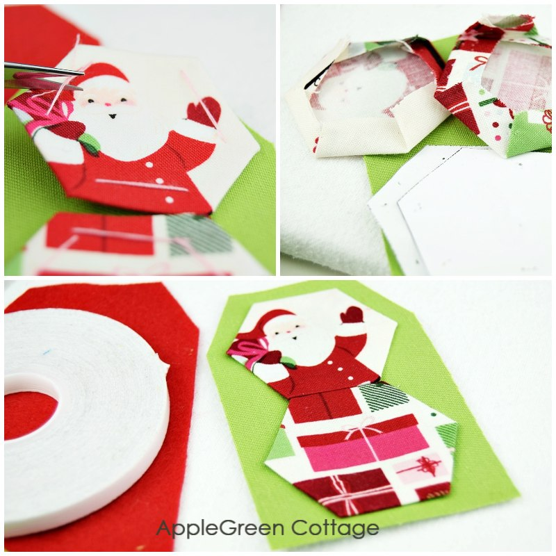 how to baste hexies for gift tags