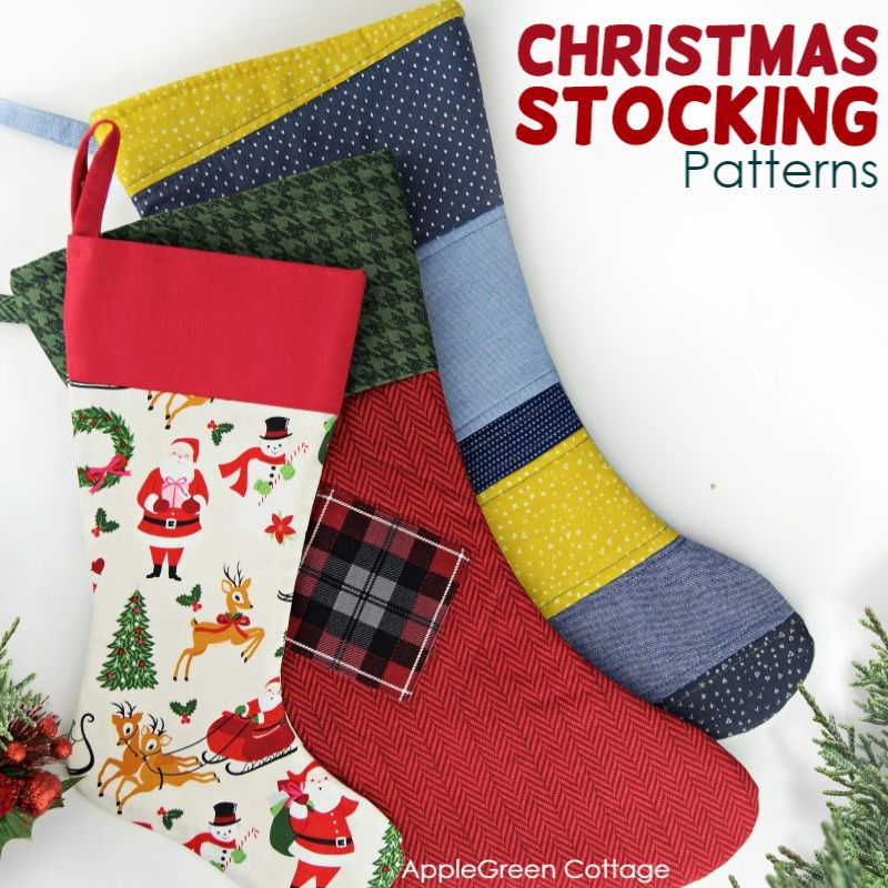 three colorful stockings made using a free christmas stocking pattern