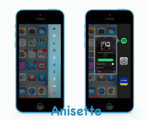 Anisette, un simpatico menu laterale che include il centro di controllo e l'app switcher di iOS