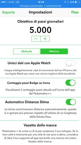 Pedometro++, una app contapassi che monitora la nostra attività giornaliera per iPhone e Apple Watch_settings