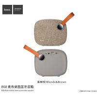 HOCO přenosný Bluetooth reproduktor s textilním povrchem a poutkem pro Apple zařízení - světle hnědý