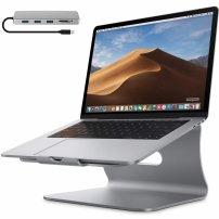 Bestand chladící stojan pod laptop s 5-portovým rozbočovačem - stříbrný