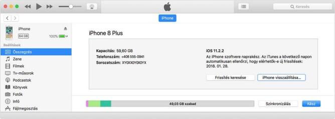 iPhone - iTunes helyreállítási mód