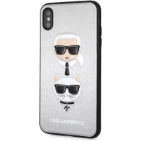 Husă Karl Lagerfeld Karl and Choupette Hard Case, pentru iPhone XS Max - argintiu