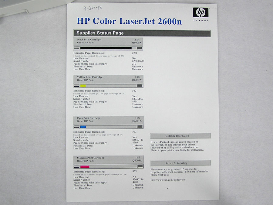 Color laserjet 2600n test page murderthestout for Hp printer test page color