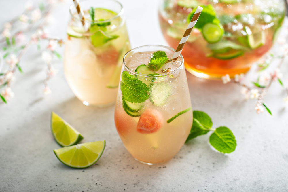 a pitcher of white wine sangria