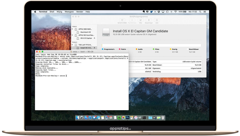 OS X El Capitan: Een bootable USB stick maken - appletips