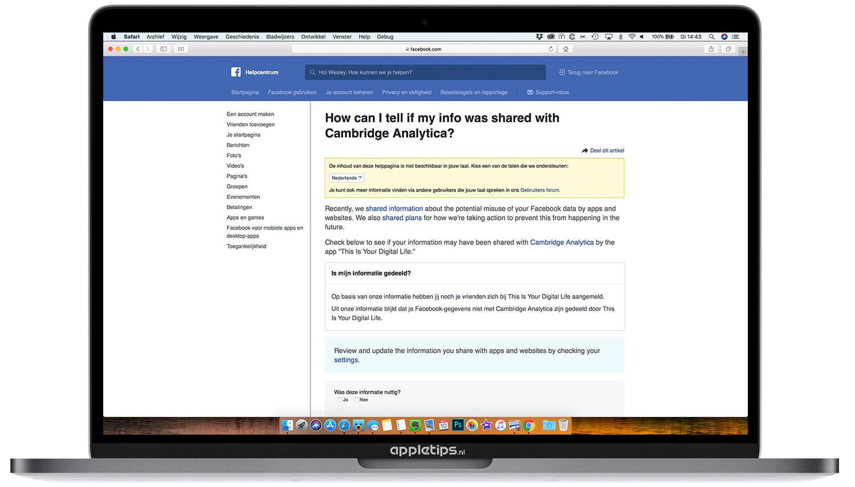 Controleren Je Facebook Gegevens En Cambridge Analytica Appletips
