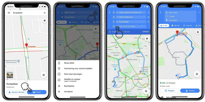 Tussenstops aan een Google Maps route toevoegen - appletips