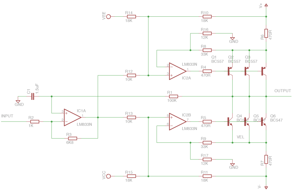medium resolution of electrical schematic for the main amplifier design