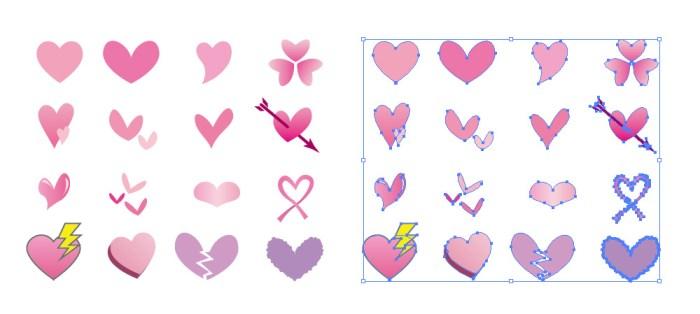 16種類のハートのイラストアイコンパスデータ eps無料ダウンロード素材