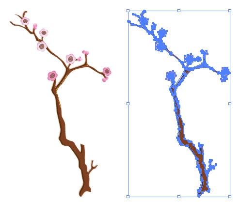 梅の枝 イラレ ベクトルデータ