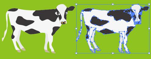 乳牛のイラスト 無料配布イラレイラストレーターベクトル パス