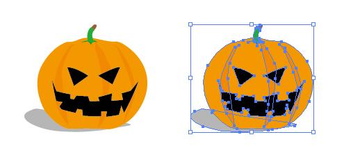 かぼちゃをくりぬいたお化け ハロウィン