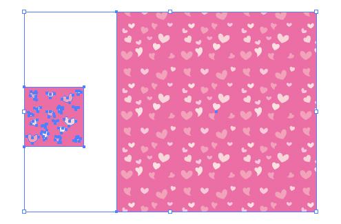ピンクのハートを主体としたキュートなパターン