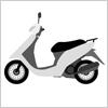 白い原動機付きバイク
