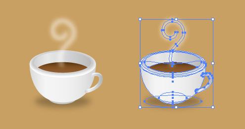 コーヒーが注がれたコーヒカップのイラスト