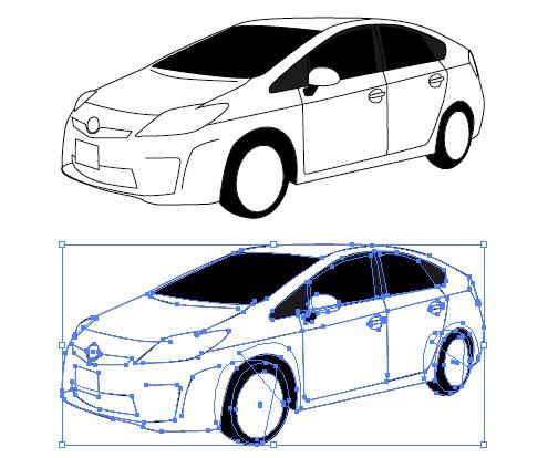 トヨタ車、プリウス(prius)のイメージイラスト