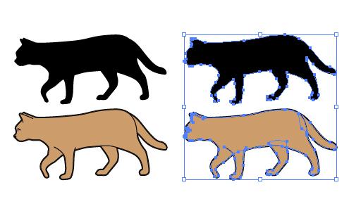歩く猫のイラストと影絵