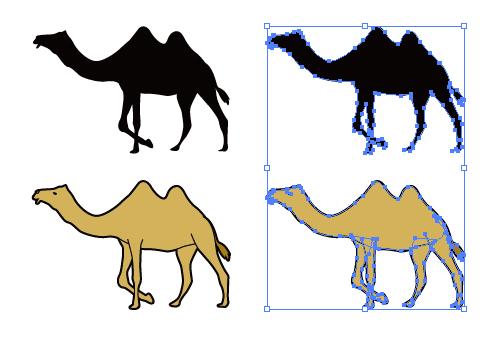 フタコブラクダのイラストと影絵素材