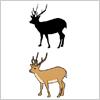 角の生えた雄鹿のイラストと影絵素材