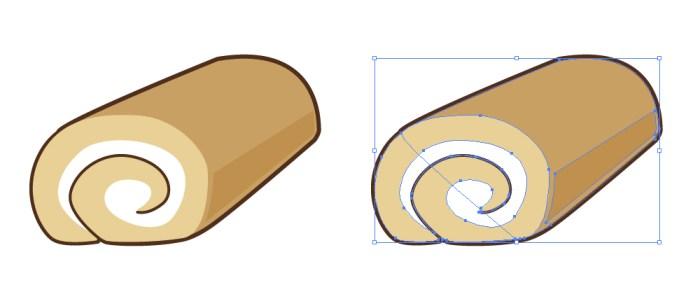 ふわふわスポンジのロールケーキのイラスト イラレ用eps・aiデータ