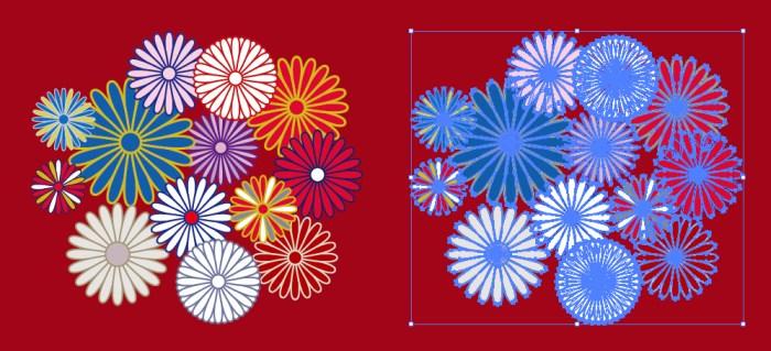 菊の紋章の和柄イラスト素材 無料配布イラレイラストレーター