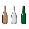 茶色・透明・緑の空き瓶のイラスト