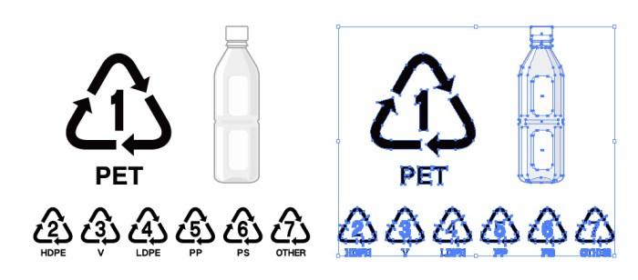 ペットボトルのイラストとペットボトルの識別リサイクルマーク
