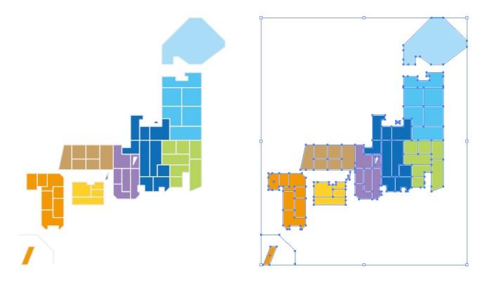 簡略化された日本地図のイラスト
