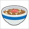 紅しょうがと玉ねぎの入った牛丼のイラスト