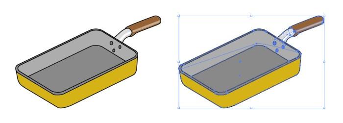 卵焼き用の四角いフライパンイラスト