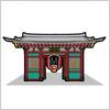東京の観光名所、雷門のイラスト