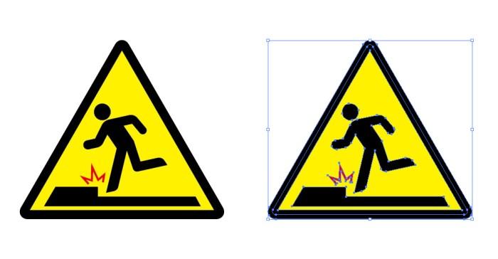 段差つまづきの注意アイコン標識マーク イラレeps素材