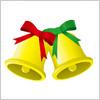 赤と緑のリボンの付いたクリスマスっぽいベルのイラスト