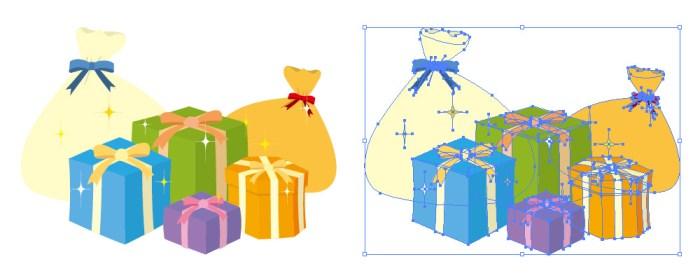 たくさんのプレゼントが並んだイラスト