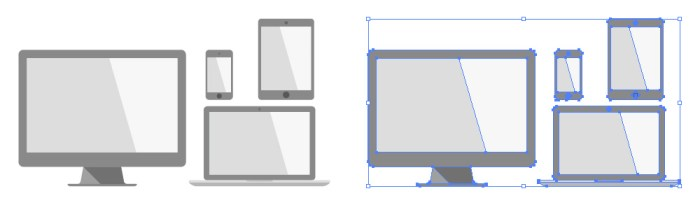 デスクトップパソコン、ノートパソコン、タブレット、スマートホンのフラットデザインイラストセット