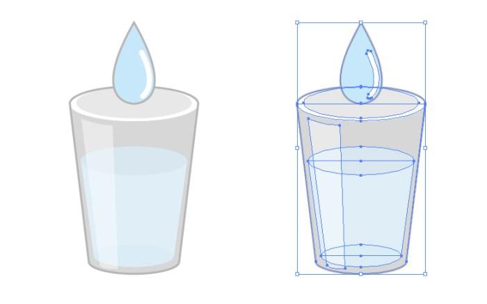 水の入ったガラスのコップ・グラスのイラスト